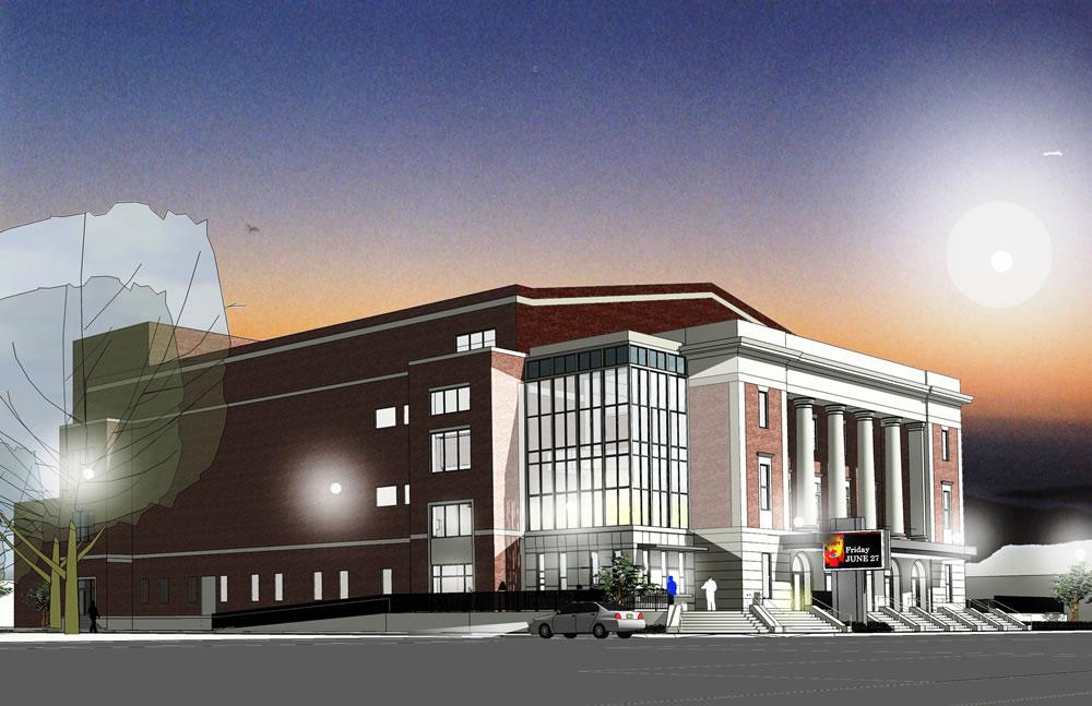 Front Elevation Square : Township auditorium michael m simpson associates inc